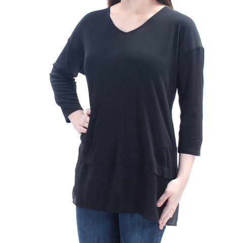 EILEEN FISHER $258 Womens New 1078 Black V Neck 3/4 Sleeve Tiered Top 2XS B+B