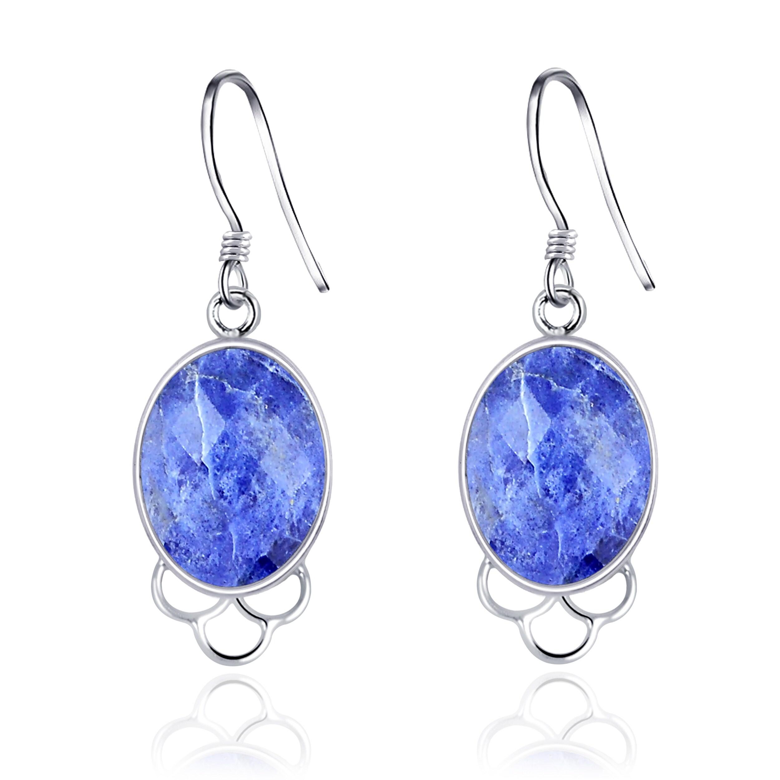 Sodalite and Sterling Silver Teardrop Charm Earrings