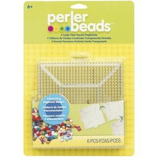 Perler Pegboards 4/Pkg-Large Square Clear