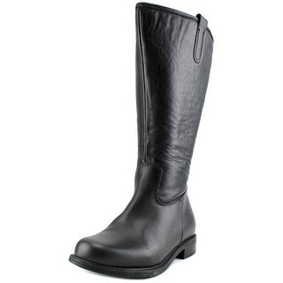 David Tate Best-20 Women WW Round Toe Leather Black Knee High Boot