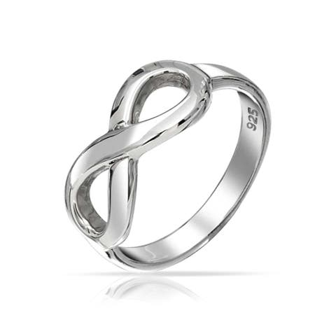 Best Friends BFF Love Knot Infinity Band Ring 925 Sterling Silver