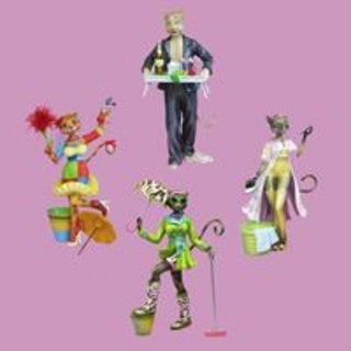 Pack of 8 Alley Cats Mopping, Breakfast, Dusting & Ironing Table Top Figurines