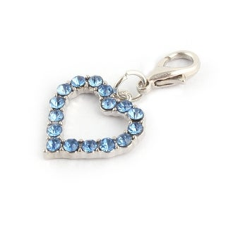 Party Pet Metal Shining Rhinestone Pet Necklace Clasp Heart Charm Pendent Blue