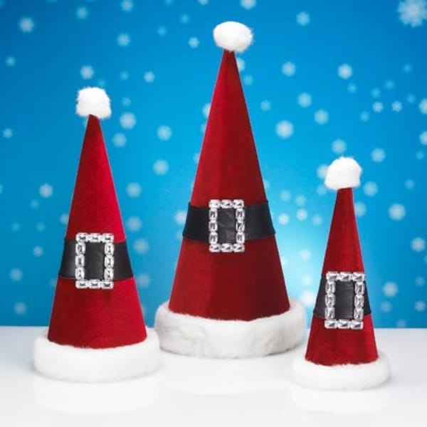 Set of 3 Red Velveteen Santa Claus Cone Hat Nesting Christmas Decorations