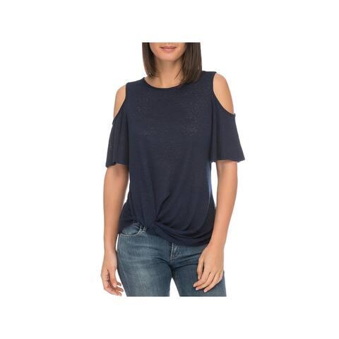 Bobeau Womens Pullover Top Cold Shoulder Side-Knot