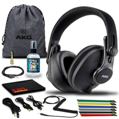 AKG K371BT Bluetooth Headphone with Cables, Pouch, Cable Ties, and
