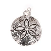 Antiqued Silver Plated Ocean Sand Dollar Charm 19mm (1)