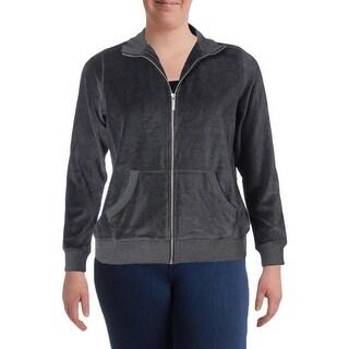 MICHAEL Michael Kors Womens Plus Athletic Jacket Velour Zip Front