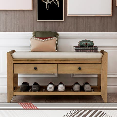 Old Pine Multipurpose Storage Bench with Cushioned Seat and Drawers