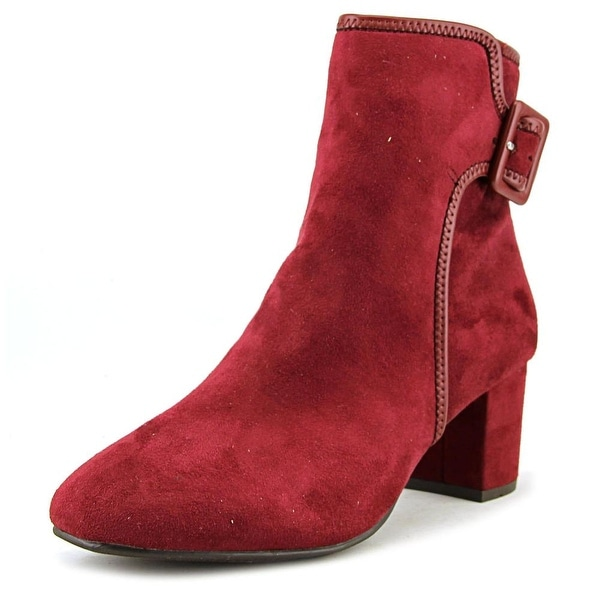 White Mountain Callaway Women Round Toe Suede Red Ankle Boot
