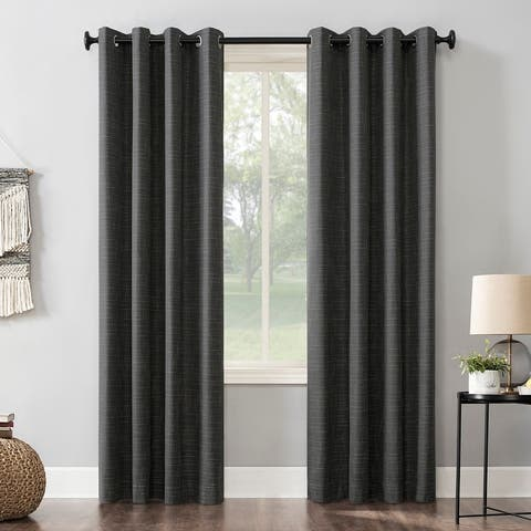 Sun Zero Kline Burlap Weave Thermal Extreme Total Blackout Grommet Curtain Panel