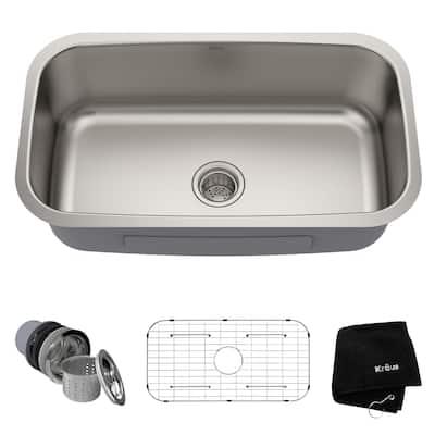 KRAUS Premier Stainless Steel 31 1/2 inch Undermount Kitchen Sink