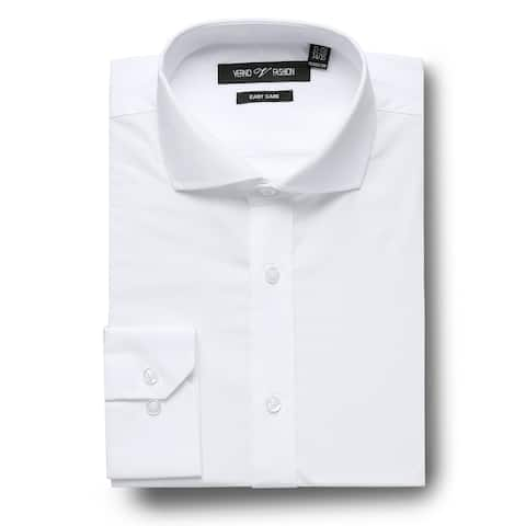 Men's Regular Fit Cutaway Collar Travel Easy-Care Cotton Dress Shirt