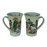 Set of 2 Alice In Wonderland Christmas Tea Party 14 Ounce Ceramic Mugs
