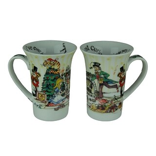Set of 2 Alice In Wonderland Christmas Tea Party 14 Ounce Ceramic Mugs