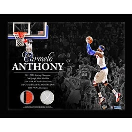 Carmelo Anthony New York Knicks Game Used Net & Game Used Jersey 11x14 Horizontal Framed Photo Collage