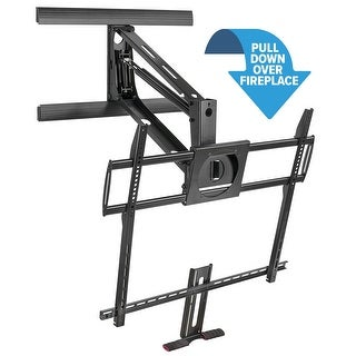 """Mount-It! Heavy Duty Fireplace Mantel TV Mount Pull Down Mounting Bracket with Height Adjustment, Fits 50-100"""" - Black"""