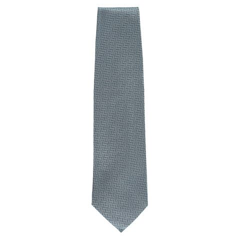 Tom Ford Mens Light Blue Teal Zig Zag Geometric 100% Silk Classic Tie~RTL$275 - One Size