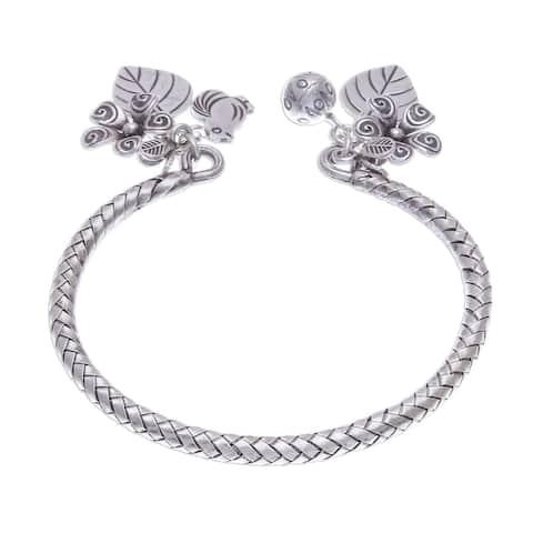 NOVICA Springtime Charm, Silver cuff bracelet