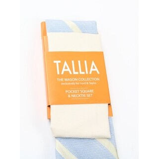 Tallia NEW Yellow Blue One Size Striped Linen Neck Tie & Pocket Square