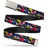 Blank Chrome Buckle Power Rangers Faces Stacked Webbing Web Belt