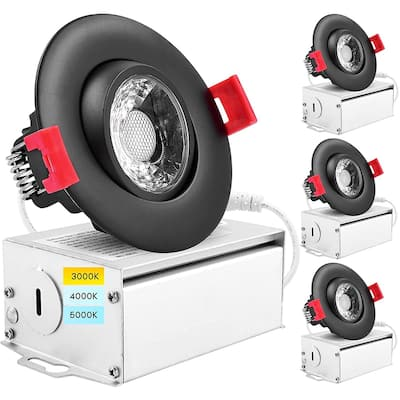 """Luxrite 4 Pack 3"""" LED Gimbal Recessed Lighting with J-Box 3 Color Options 8W 600 Lumens Dimmable Damp Rated - Black"""