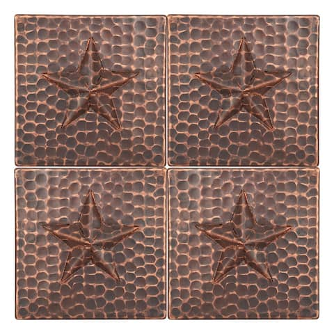 Premier Copper Products T4DBS_PKG4 4-inch x 4-inch Hammered Copper Star Tile - Quantity 4