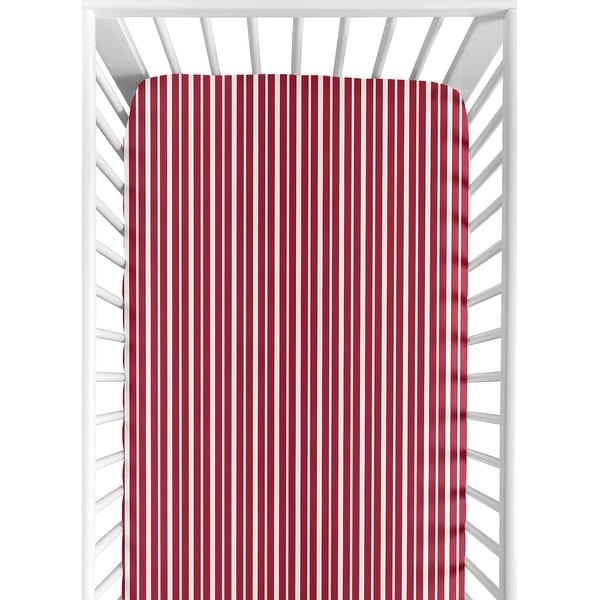 Sweet JoJo Designs Vintage Aviator Red Stripe Fitted Crib Sheet. Opens flyout.