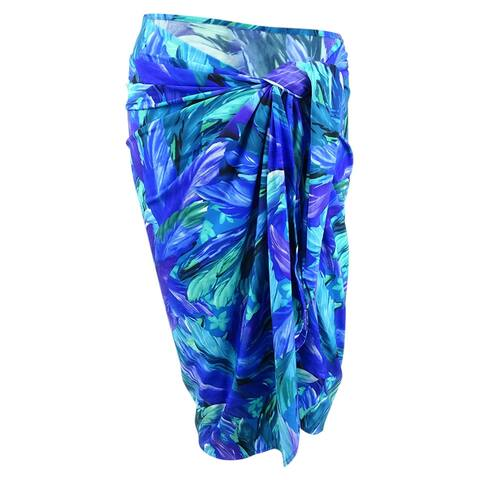 Miraclesuit Women's Tropical Floral Print Sarong Skirt Swim Cover-Up (S/M, Blue) - Black/White - M
