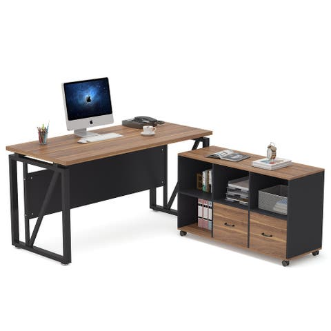 55 Inch L Shaped Executive Desk with 2 Drawers, Office Computer Desk with Lateral File Cabinet