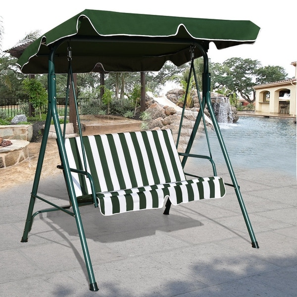 Shop Costway Loveseat Patio Canopy Swing Glider Hammock Cushioned