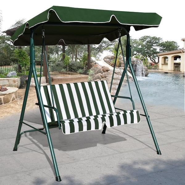 Costway Loveseat Patio Canopy Swing Glider Hammock Cushioned Steel Frame  Outdoor Green