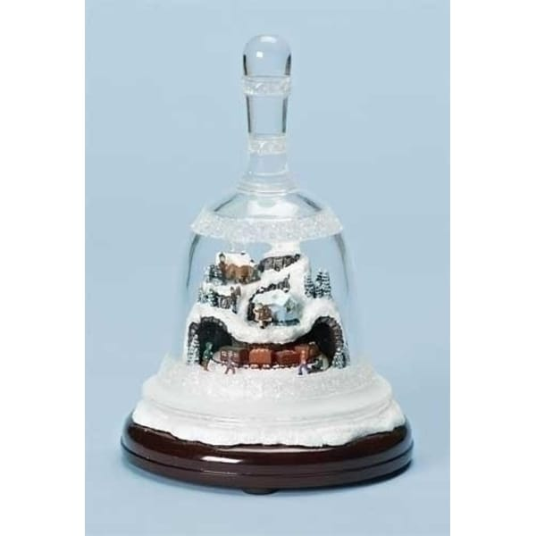 "8.25"" Musical Lighted Bell with Rotating Winter Scene Christmas Decoration - CLEAR"