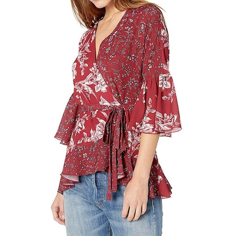 French Connection Womens Blouse Red Size Medium M Wrap Floral-Print