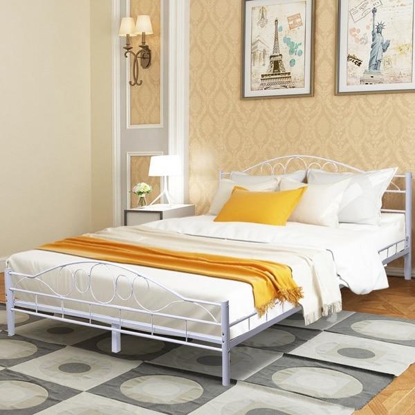 Shop Costway Queen Size Wood Slats Steel Bed Frame