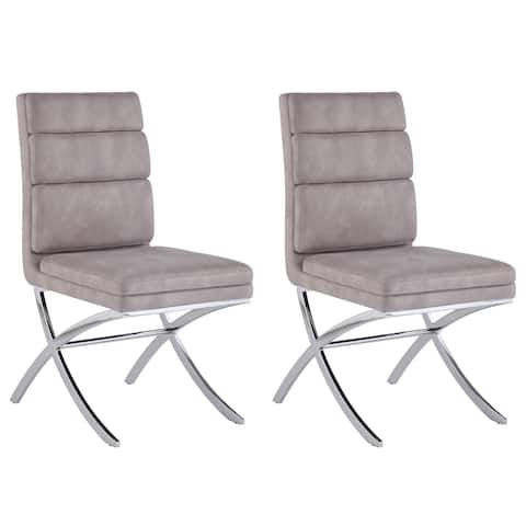 Somette May Modern Channel-Back Side Chair, Set of 2