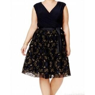 SLNY NEW Navy Blue Gold Women's 18W Plus Belted Empire Waist Dress