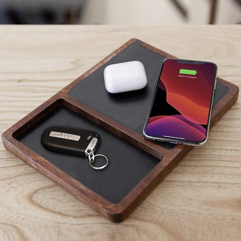 NYTSTND DUBL TRAY Amish Wooden Handcrafted Wireless Charging Station