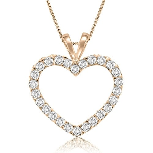 0.50 cttw. 14K Rose Gold Classic Heart Shape Diamond Pendant