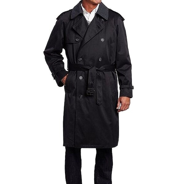 Hart Schaffner Marx Black Mens Size 38s Double Ted Trench Coat Free Shipping Today 27103484