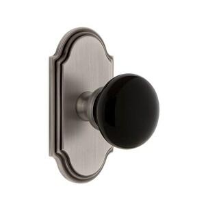 "Grandeur ARCCOV_PRV_234  Arc Solid Brass Rose Privacy Door Knob Set with Coventry Knob and 2-3/4"" Backset"