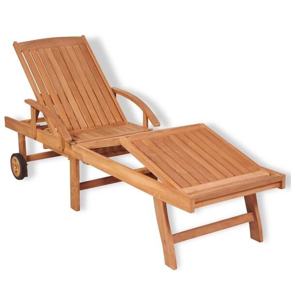 "vidaXL Sun Lounger Solid Teak Wood - 76.8"" x 23.4"" x 13.8"""