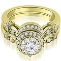0.77 cttw. 14K Yellow Gold Antique Round Cut Diamond Engagement Set - Thumbnail 0