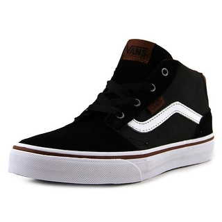 Vans Chapman Mid Youth Round Toe Leather Black Skate Shoe