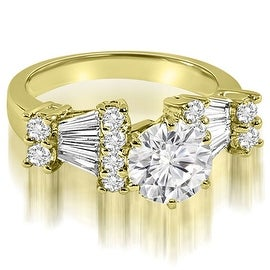 2.70 cttw. 14K Yellow Gold Round and Baguette Diamond Engagement Ring
