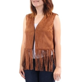 Womens Brown Sleeveless Open Casual Vest Top Size S