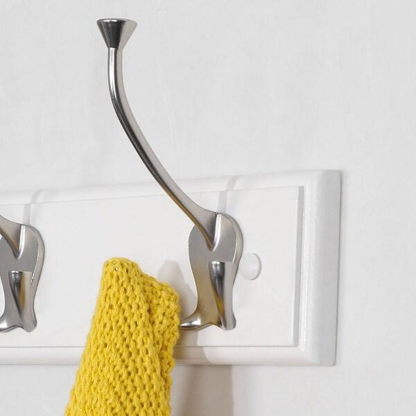 Wood Base 22 Inch Wall Hook Coat Rack Holder Hanger with 5 Zinc Alloy Hooks