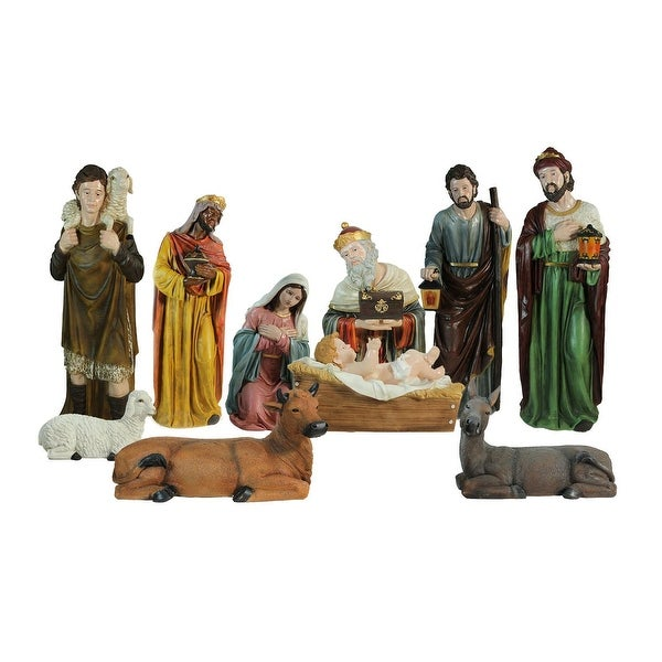 11-Piece Multi-Color Religious Christmas Nativity Figurine Set 49""
