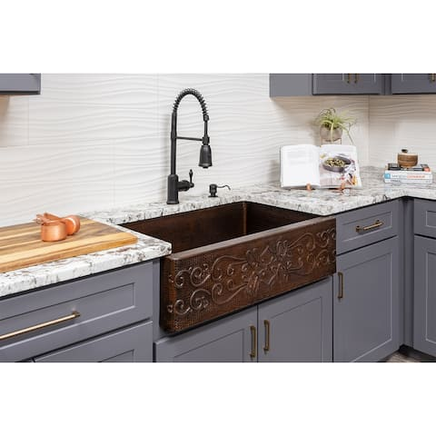 Premier Copper Products KSP4_KASDB33229S Kitchen Sink, Spring Faucet and Accessories Package