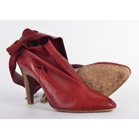 Roberto Cavalli Red Leather Bow Ankle Strap Bootie